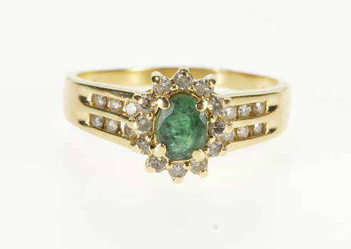 14K 0.74 Ctw Emerald Diamond Halo Tiered Accent Yellow Gold Ring, Size 10.75