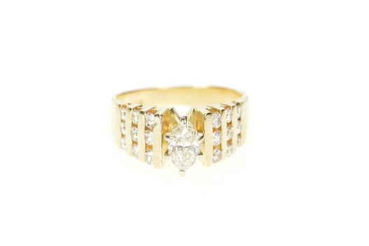 14K 0.74 Ctw Marquise Diamond Channel Engagement Yellow Gold Ring, Size 4.75
