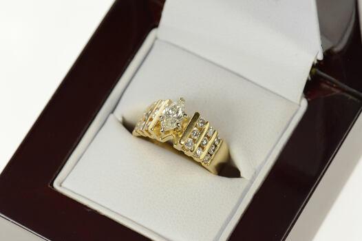 14K 0.74 Ctw Marquise Diamond Retro Engagement Yellow Gold Ring, Size 4.75