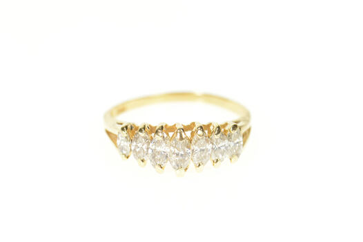 14K 0.74 Ctw Marquise Graduated Diamond Band Yellow Gold Ring, Size 6.5