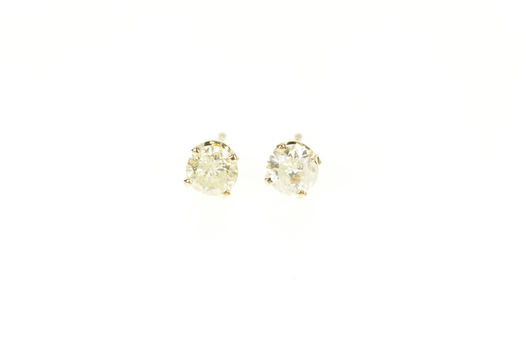 14K 0.74 Ctw Round Diamond Solitaire Classic Stud Yellow Gold Earrings