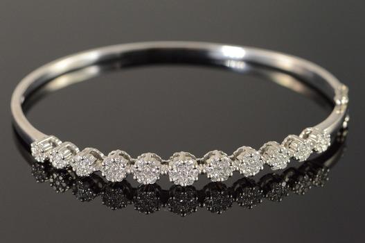 """14K 0.75 CTW Diamond Cluster Bangle White Gold Bracelet 2.3"""""""