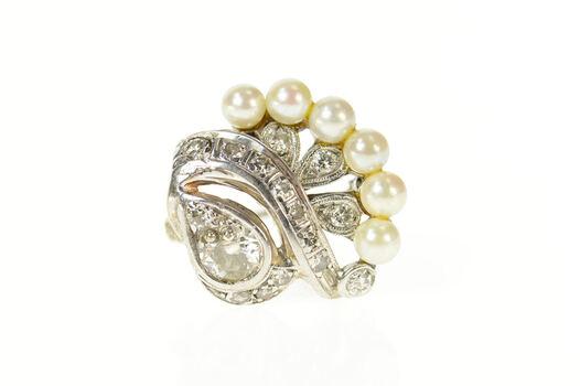 14K 0.75 Ctw Ornate 1940's Diamond Pearl Swirl White Gold Pin/Brooch