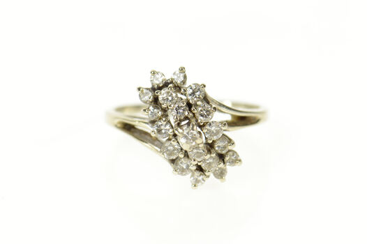 14K 0.76 Ctw Diamond Wavy Cluster Retro Bypass White Gold Ring, Size 10.25