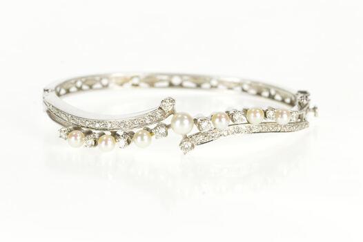 "14K 0.78 Ctw Classic Diamond Pearl Bypass Bangle White Gold Bracelet 6.75"""