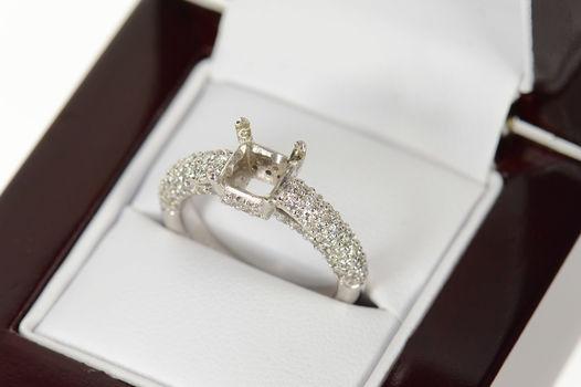14K 0.78 Ctw Diamond Semi Mount Engagement Setting White Gold Ring, Size 6.5