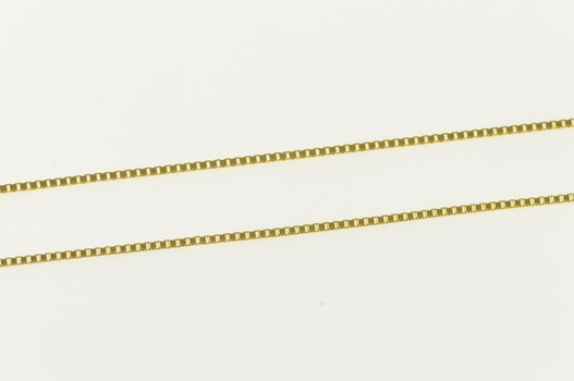 14K 0.7mm Box Chain Fancy Squared Link Yellow Gold Necklace 18""