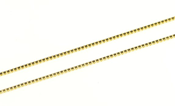 """14K 0.7mm Box Link Square Plain Chain Yellow Gold Necklace 18"""""""