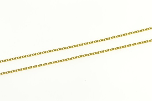 """14K 0.7mm Square Chain Simple Box Link Yellow Gold Necklace 18"""""""