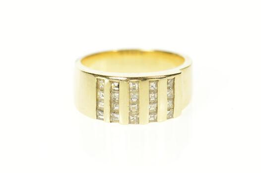 14K 0.80 Ctw Princess Diamond Channel Band Yellow Gold Ring, Size 9.25