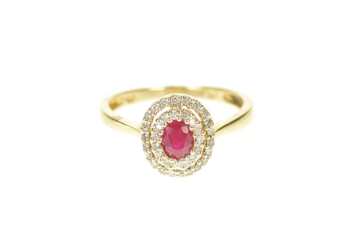 14K 0.80 Ctw Ruby Diamond Halo Engagement Yellow Gold Ring, Size 7.25