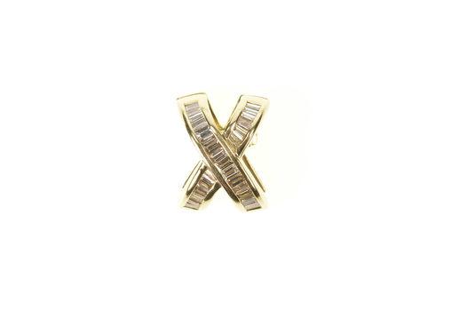 14K 0.81 Ctw Baguette Diamond X Channel Enhancer Yellow Gold Pendant