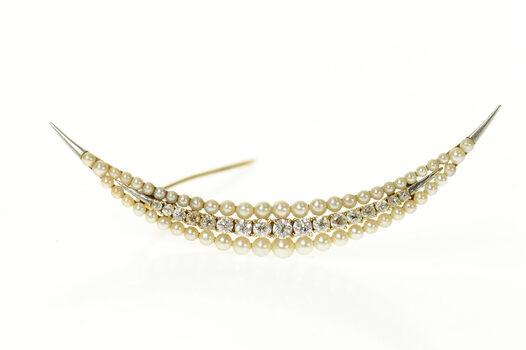 14K 0.81 Ctw Victorian Diamond Pearl Moon Yellow Gold Pin/Brooch