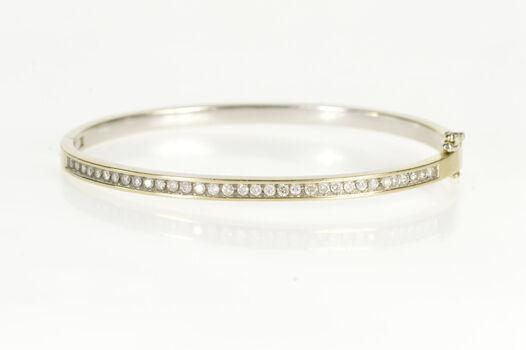 "14K 0.82 Ctw Diamond Channel Oval Bangle White Gold Bracelet 7.25"""