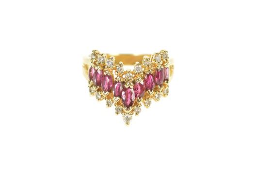 14K 0.82 Ctw Marquise Ruby Diamond Chevron Band Yellow Gold Ring, Size 4.5