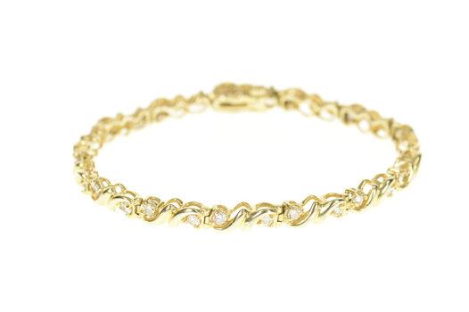 "14K 0.84 Ctw Diamond Inset Wavy Link Tennis Yellow Gold Bracelet 7"""