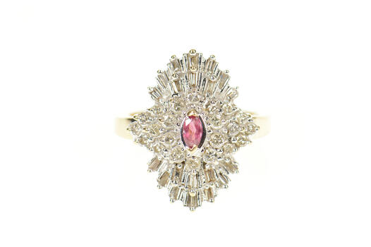 14K 0.85 Ctw Marquise Ruby Diamond Cocktail Yellow Gold Ring, Size 7