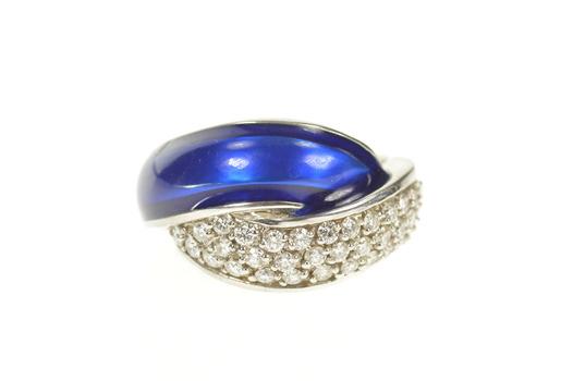 14K 0.85 Ctw Pave Diamond Blue Enamel Statement White Gold Ring, Size 6.5