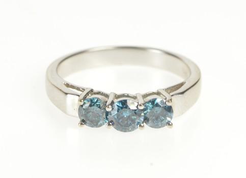 14K 0.86 Ctw Blue Diamond Three Stone Engagement White Gold Ring, Size 7.25