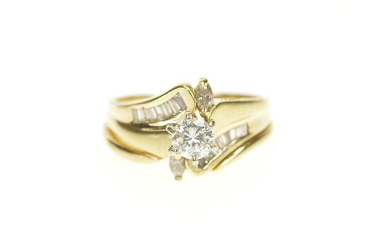 14K 0.89 Ctw Diamond Bypass Bridal Set Engagement Yellow Gold Ring, Size 8