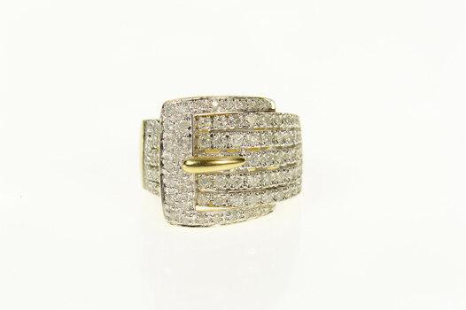 14K 0.89 Ctw Pave Diamond Buckle Belt Statement Yellow Gold Ring, Size 5