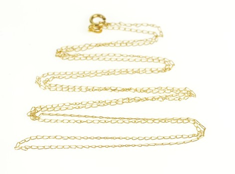 """14K 0.8mm Cable Chain Fancy Link Yellow Gold Necklace 21"""""""