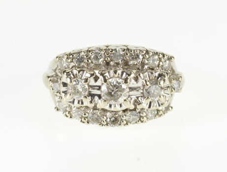 14K 0.90 Ctw Diamond Encrusted Tiered Cluster White Gold Ring, Size 3.75