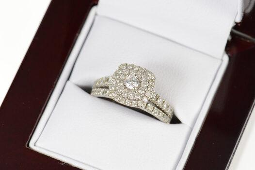 14K 0.90 Ctw Diamond Engagement Bridal Set White Gold Ring, Size 5