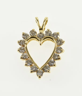 14K 0.90 Ctw Heart Cut Out Diamond Inset Love Symbol Yellow Gold Pendant