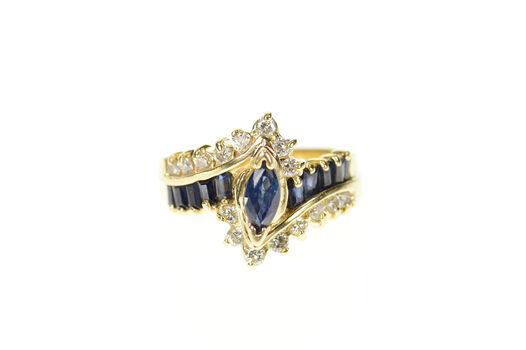 14K 0.90 Ctw Marquise Sapphire Diamond Bypass Yellow Gold Ring, Size 5.25