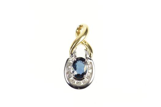 14K 0.91 Ctw Natural Oval Sapphire Diamond Yellow Gold Pendant