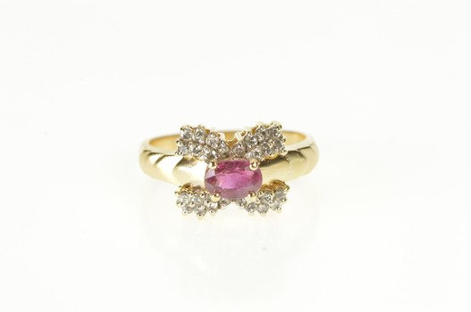 14K 0.91 Ctw Oval Ruby Diamond Inset Engagement Yellow Gold Ring, Size 6.75