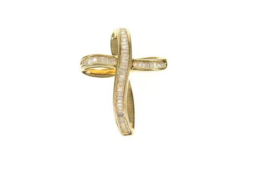 14K 0.92 Ctw Baguette Diamond Encrusted Loop Cross Yellow Gold Pendant