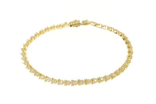 "14K 0.92 Ctw Classic Diamond Simple Tennis Yellow Gold Bracelet 7"""