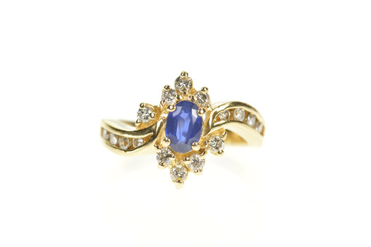 14K 0.92 Ctw Natural Sapphire Diamond Engagement Yellow Gold Ring, Size 5