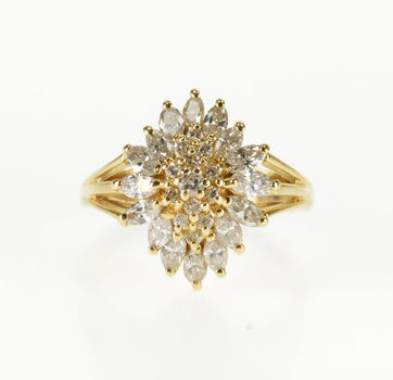 14K 0.92 Ctw Ornate Marquise Diamond Halo Cluster Yellow Gold Ring, Size 4.5