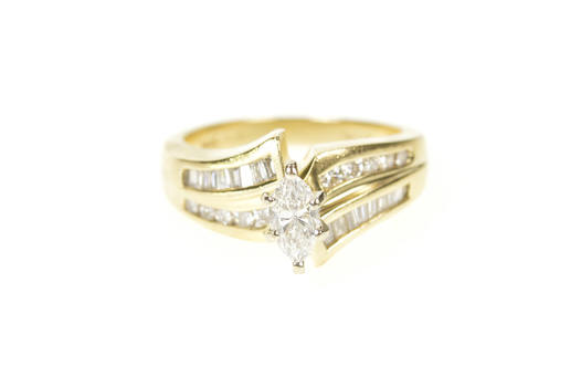 14K 0.94 Ctw Marquise Diamond Bypass Engagement Yellow Gold Ring, Size 5
