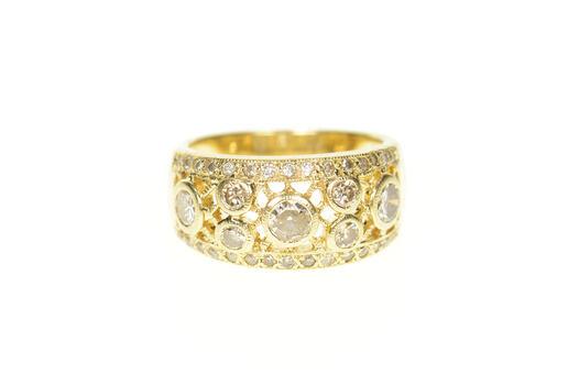 14K 0.96 Ctw Diamond Lattice Statement Band Yellow Gold Ring, Size 6.75