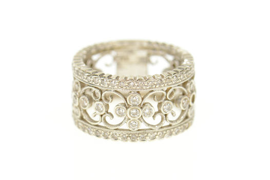 14K 0.96 Ctw Ornate Diamond Floral Statement Band White Gold Ring, Size 6.5