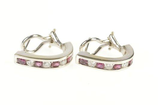 14K 0.96 Ctw Ruby Diamond Channel Semi Hoop White Gold Earrings