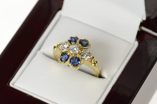 14K 0.97 Ctw 1940's Diamond Sapphire Cocktail Yellow Gold Ring, Size 6