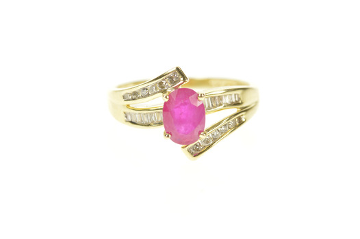 14K 0.97 Ctw Ruby Diamond Bypass Engagement Yellow Gold Ring, Size 6.25