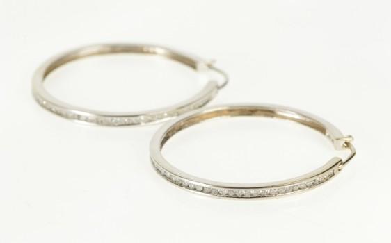 14K 0.99 Ctw Diamond Channel Inset Fashion Hoop White Gold Earrings