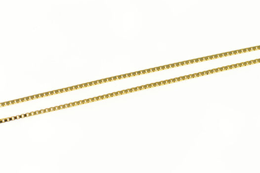 """14K 0.9mm Box Link Classic Square Chain Yellow Gold Necklace 19.5"""""""