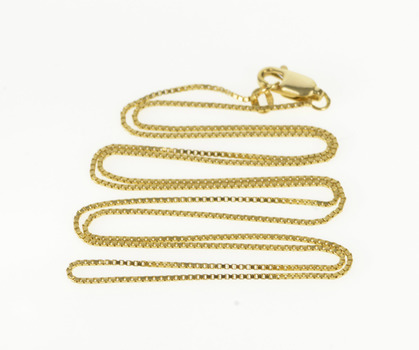 """14K 0.9mm Box Square Classic Chain Link Yellow Gold Necklace 20.75"""""""