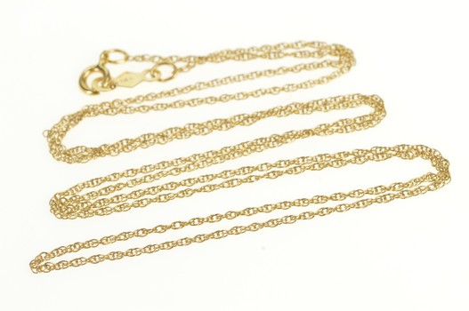 14K 0.9mm Rolling Cable Twist Link Chain Yellow Gold Necklace 18.5""