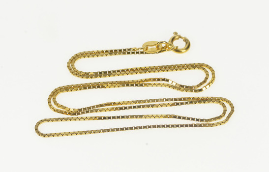 """14K 0.9mm Square Classic Box Link Chain Yellow Gold Necklace 16.75"""""""