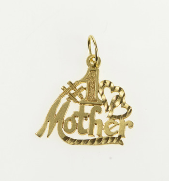 14K #1 Number One Mother Mom Best Mother's Day Yellow Gold Charm/Pendant