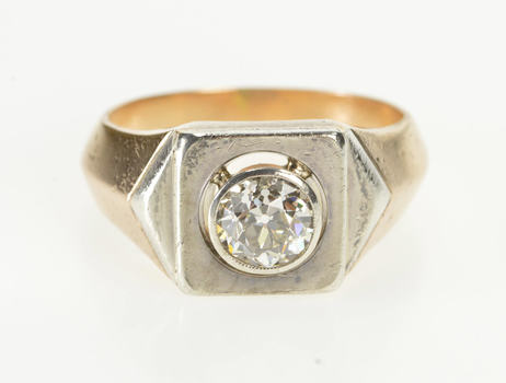 14K 1.00 Ct Edwardian Two Tone Diamond Engagement Yellow Gold Ring, Size 6.75