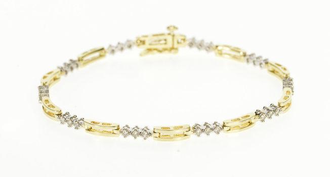 "14K 1.00 Ctw Diamond Curve Bar Link Tennis Yellow Gold Bracelet 7.25"""